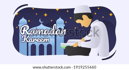ramadan kareem of a Muslim male reading the Quran in the month of Ramadan. read quran concept - vector flat illustration Imagine de stoc ©