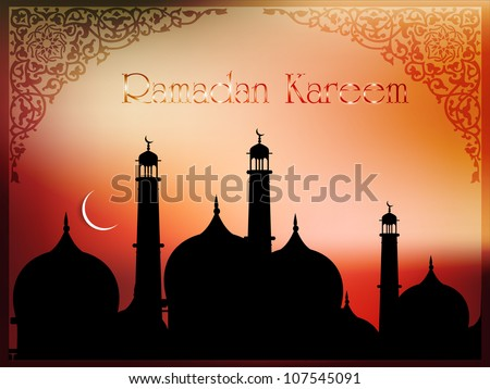 Ramadan Kareem or Ramazan Kareem background with Mosque or Masjid and moon EPS 10.