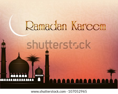 Ramadan Kareem or Ramazan Kareem background with Mosque or Masjid and moon illustration on EPS 10.