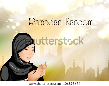 Ramadan Kareem or Ramazan Kareem background with Muslim girl in hijab reading Namaz and Mosque or Masjid illustration EPS 10.