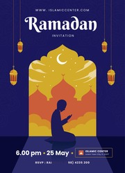 Ramadan Kareem Poster background islamic symbol with crescent moon, silhouette mosque and lantern. and man praying. Vector Illustration idea concept Flat Styles with arabic pattern.