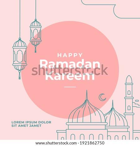 Ramadan Kareem poster design with mosque and lantern lamp monoline vector illustration for islam fasting festival event