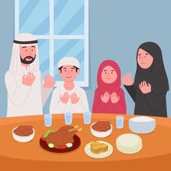 Ramadan Kareem Pray Together Before Iftar Illustration