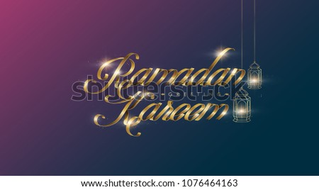 Ramadan Kareem premium golden ribbon font design card background . Vector illustration.