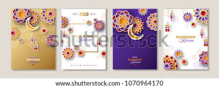 Ramadan Kareem set of posters or invitations design with 3d paper cut islamic lanterns, stars and moon on gold and violet background. Vector illustration. Place for text.
