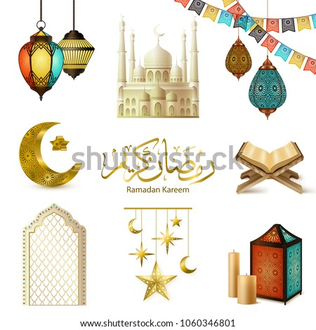 Ramadan kareem symbols ritual objects crescent holy quran book candles mosque realistic icons collection isolated vector illustration