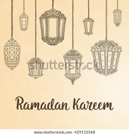 Ramadan Kareem theme. Vector card with flashlights and lettering. Hand drawn illustration with lamps. #429110368