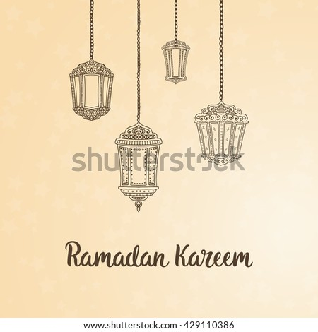Ramadan Kareem theme. Vector card with flashlights and lettering. Hand drawn illustration with lamps. #429110386