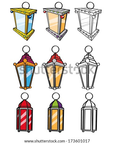 ramadan Kareem, three shapes of colorful lanterns used in ramadan as a religion symbol