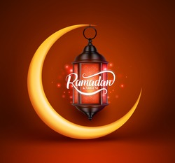Ramadan kareem vector greetings design with lantern or fanoos hanging in yellow crescent moon in red background. Vector illustration.