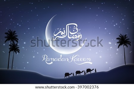 Ramadan kareem with camel walks through in desert on night day.Vector