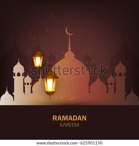 Ramadan Lanterns or Shiny Lamps on shiny Islamic background, Masjid background, Muslim background, Ramadan Kareem, Vector Illustration, Ramadan Mubarak.