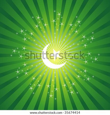 Ramadan Moon On Sparkling Background