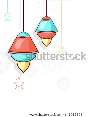 Ramadan Mubarak background with hanging lanterns and stars decoration.