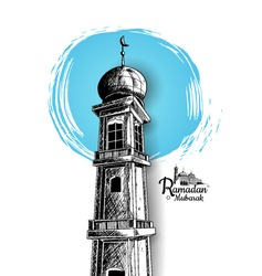 Ramadan Mubarak free hand drawing sketch of mosque tower blue round brush. Vector illustration for ramadan poster, flyer, greeting card, banner and template