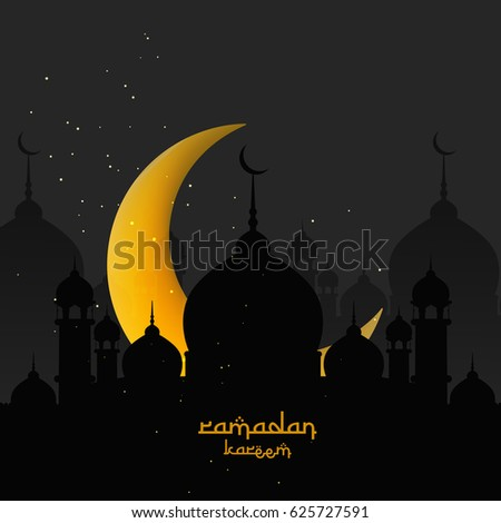 Ramadan Mubarak, Ramadan Kareem, Masjid background, Shiny Moon, Vector Illustration.