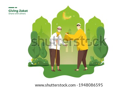 Ramadan pay zakat and share with other illustration concept, A Muslim giving zakat to old man when Ramadan month, Give charity to the other person