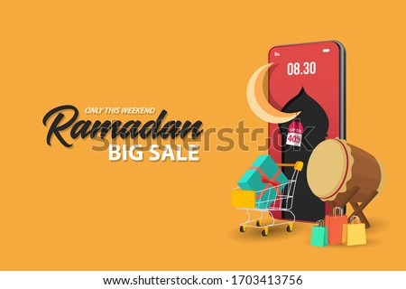 Ramadan sale banners set,discount and best offer tag, label or sticker set on occasion of Ramadan Kareem and Eid Mubarak, vector illustration