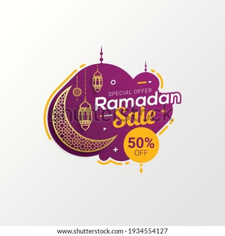 Ramadan sale label badge banner template design background