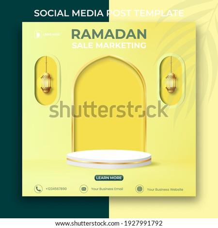 ramadan sale marketing banner. Editable social media post template. 3d Ramadan Kareem design with podium and lanterns.