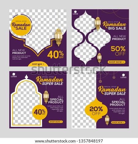 Ramadan sale social media post template banners ad. Editable vector illustration.