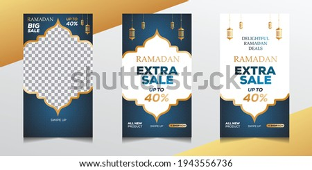 Ramadan sale stories post template banners ad. Ramadan social media post template with blank areas for images or text. Editable vector illustration.