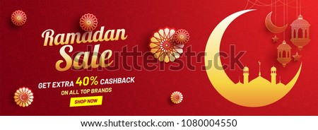 Ramadan sale, web header or banner design with golden crescent moon, intricate lanterns and floral patterns on red background.