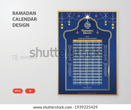 Ramadan sehri iftar time table calendar template.