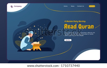 Ramadan stay at home concept with a Moslem read the holy Quran illustration on landing page
