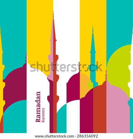 Ramadan vector greeting card with silhouette of mosque. Vector multicolor seamless background. Ramadan Kareem. Creative design concept for muslim holiday.