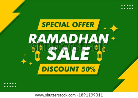 Ramadhan Sale Banner - Vector Flat Design Illustration : Suitable for Islamic (Ramadhan) Theme, Business Theme, Promotion (Shopping) Theme, Advertising Theme and Other Graphic Related Assets.