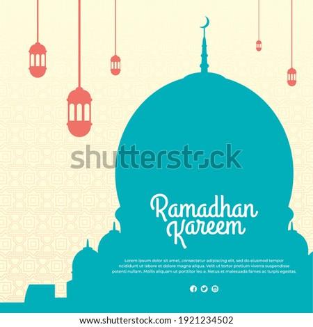 Ramadhan vector with beautiful mosque shilouette and islamic ornaments, Ramadhan greeting card, Islamic pattern background, Ramadhan kareem post template, Ramadhan banner design