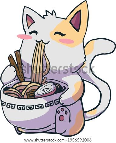 Ramen T-Shirt design Cat shirt Kawaii Anime Tee Japanese anime