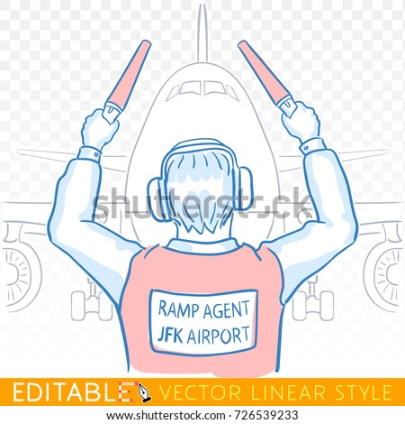 ramp agent marshaling aircraft