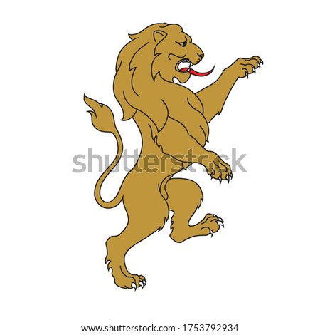 Rampant lion for a coat of arms crest heraldic medieval heraldry or royal family. vintage shield.  Stockfoto ©