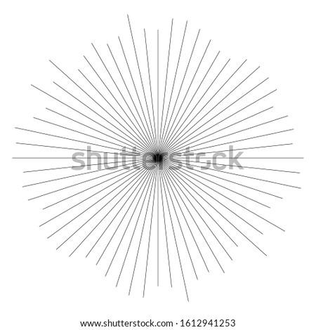 Random circular lines starburst, sunburst element. Converging radial, radiating spokes, stripes. Concentric rays, beams. Fireworks, explosion, sparkle trail lines