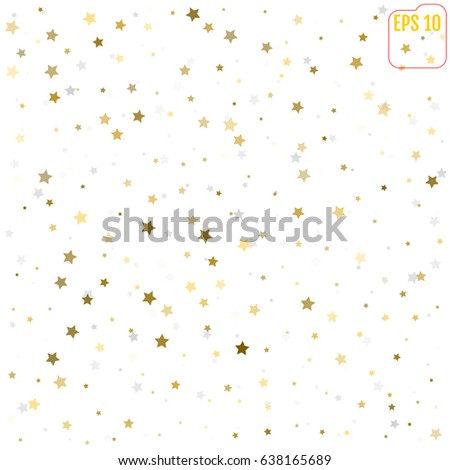 Random falling gold and silver stars on white background. Glitter pattern for banner, greeting card, Christmas and New Year card, invitation, postcard, paper packaging. Vector illustration