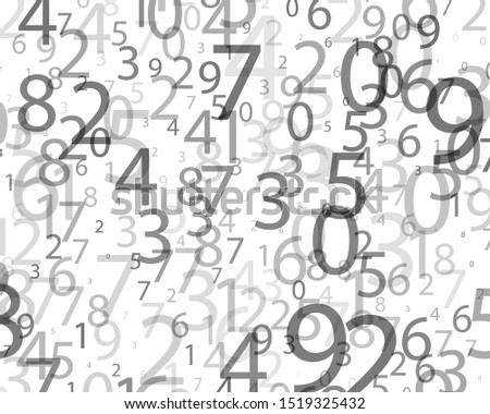 Random numbers 0 and 9 of different scales and different degrees of transparency. Background in a matrix style. Binary code pattern with digits on screen, falling character. Abstract digital backdrop