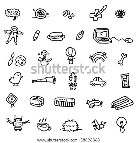 random objects doodle - stock vector