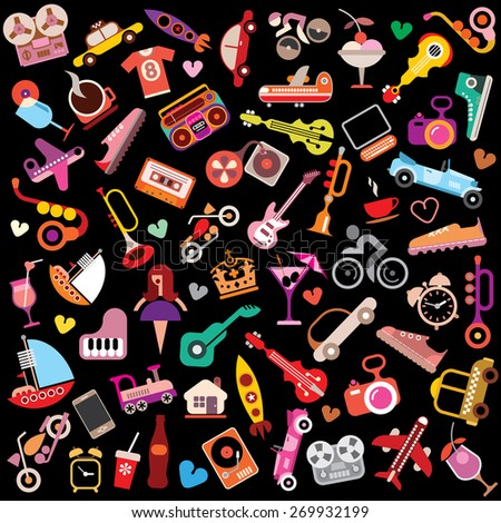 Random objects on black background. Vector illustration.