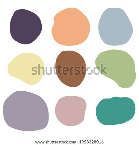 Random organic shapes, abstract drops, blotch, inkblot. Vector set of liquid, fluid smooth form. Pebble and stone silhouettes. Collection of specks or spot of various irregular shapes.