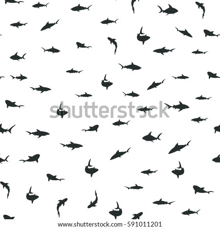 Random pattern with black sharks. Seamless vector background.