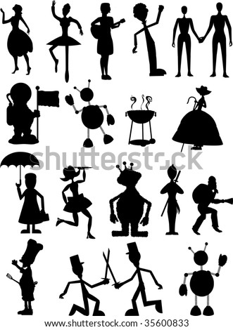 Random set of silhouettes including people, robots and monsters
