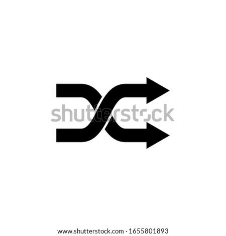 Random shuffle or randomize playlist music flat vector icon for apps and websites on white background Stock foto ©