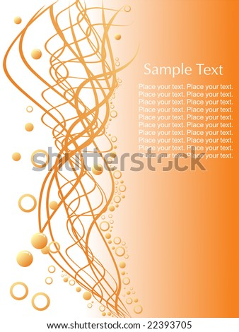 ... circles and sample text on orange background, wallpaper - stock vector