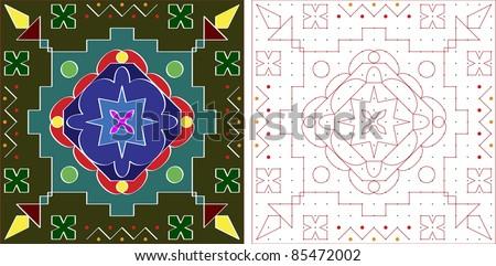 Rangoli, alpana, kolam design with dot grid - stock vector