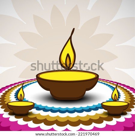 Rangoli And A Decorated Illuminated Diwali Diya Card Background Vector