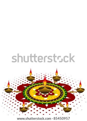 rangoli decorated with diya for deepawali & other indian festival