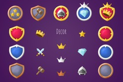 Rank constructor icons set. Isolated vector illustration of mobile game sprites. Design for stickers, logo, mobile app. Arcade or match 3 2d game asset. Flat sprite sheet. Guild or clan logo maker