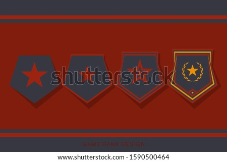Rank Insignia Badge Set for Game User Interface. Level and Progress Award Sign. Vector illustration